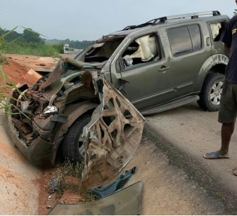 Yul-Edochies-car-after-he-survived-road-accident-on-Tuesday