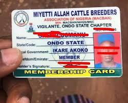 fulani herdsmen id card in ondo